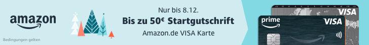 Amazon Visa Kreditkarte -Adventsaktion - bis zu 50 € Startgutschrift