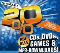 20 % auf Spiele, CDs, DVDs, MP3s und Blu-rays