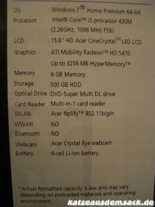 Ausstattung Acer Aspire 5740G-436G50Mn