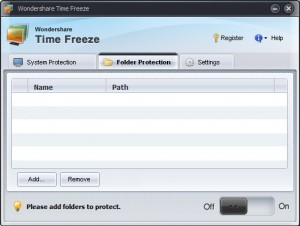 Wondershare Time Freeze Ordnerschutz