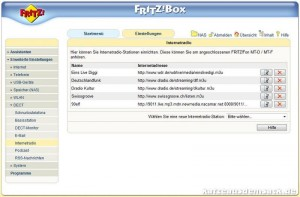 Internetradio-Einstellungen FRITZ!Box