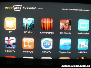 Hauptmenue VideoWeb 600S