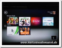 Kinect Hub - Das Menü / Dashboard