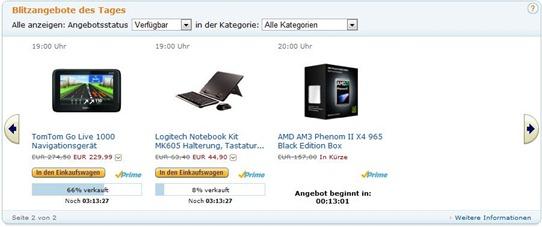 Reduzierte Artikel in den Blitzangeboten des Tages bei amazon.de