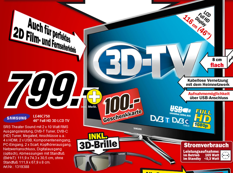 media markt samsung le46c750 mit 3d brille f r 799 100 geschenkkarte. Black Bedroom Furniture Sets. Home Design Ideas