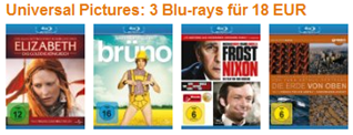 Bluray Angebote bei amazon.de - 6 € pro Film