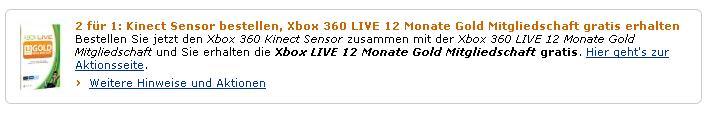 Xbox Live 12 Monate kostenlos beim Kauf von Xbox 360 Kinect