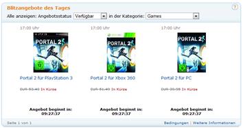 Blitzangebote des Tages -Portal 2 Pc, Xbox 360, PS3
