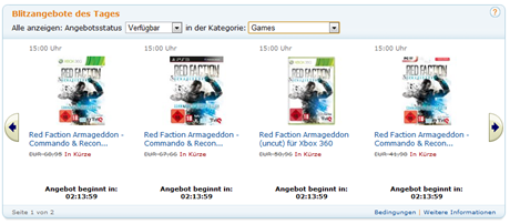 Blitzangebote des Tages - amazon.de - Games