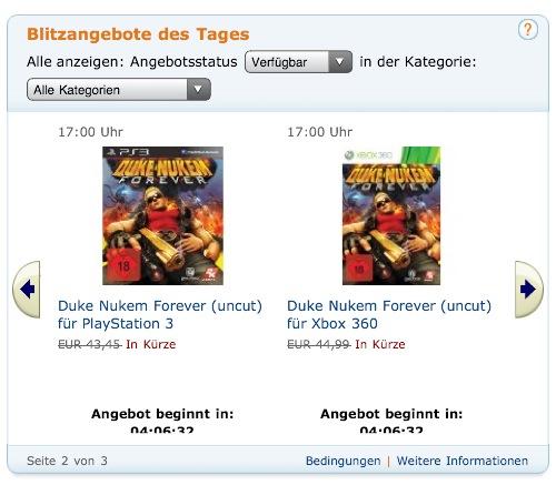 Duke Nukem Forever in den Blitzangeboten des Tages