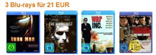 3 Bluray Filme für 21 €