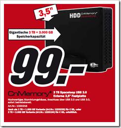 Media Markt - günstige 3 TB Festplatte extern - USB 3.0