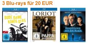 3 Bluray Filme für 20 €