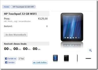 HP TouchPad 32 GB noch mal verfügbar