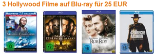 amazon - 3 Blurays für 25 € - Hollywood Filme - neue Aktion
