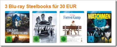 3 Blu-ray Steelbooks für 30 € - amazon