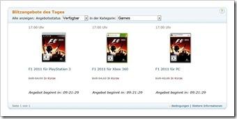 F1 2011 für Xbox 360,PS3 und PC - Blitzangebot