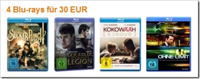 4 Blurays für 30 € - reduzierte Filme