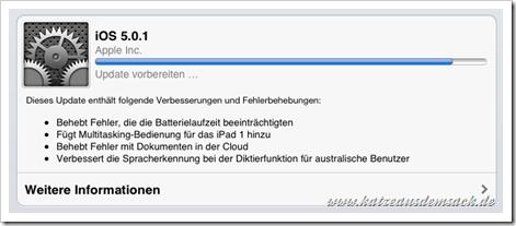 Softwareaktualisierung - Apple iOS 5.0.1 auf dem iPad 2