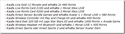 Xbox 360 / Xbox Live Weihnachtsaktion - MS Points, Arcade Spiele, Xbox Live gratis dazu - kostenlos