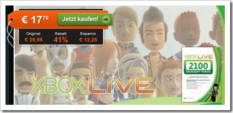 Xbox 360 - 2100 Xbox Live Points günstiger