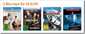 3 Blu-ray Filme für 25 € - Filmpakete bei amazon.de