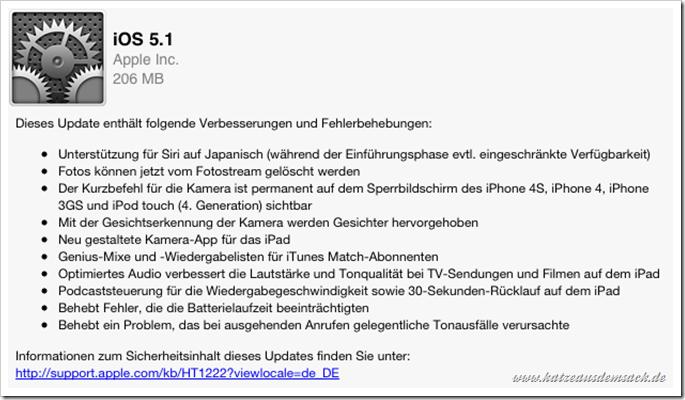 Apple iOS 5.1 - ab sofort verfügbar