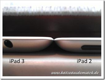 iPad 3 etwas dicker als das iPad 2 - Vergleich