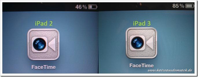 Facetime Icon und Akkuanzeige - iPad 2 vs. iPad 3