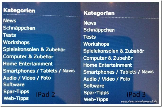 Texte, Webseiten und vieles mehr deutlich schärfer auf dem neuen iPad 3