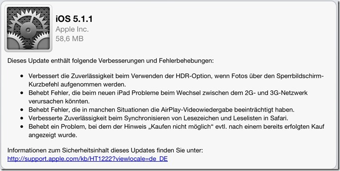 iOS 5.1.1 Update für iPhone, iPad, iPod