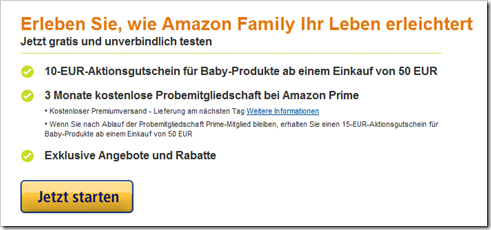 Amazon Family - Amazon Prime gratis - 10 € amazon Gutschein Babyshop