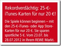 Apps, Musik und Videos günstiger - iTunes Karten - 5 € sparen
