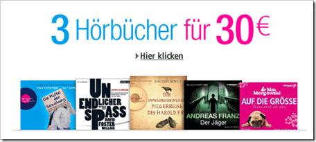 Hörbücher 3 für 30 € amazon