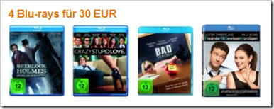 4 Filme auf Bluray für 30 € - 7,50 € pro Film