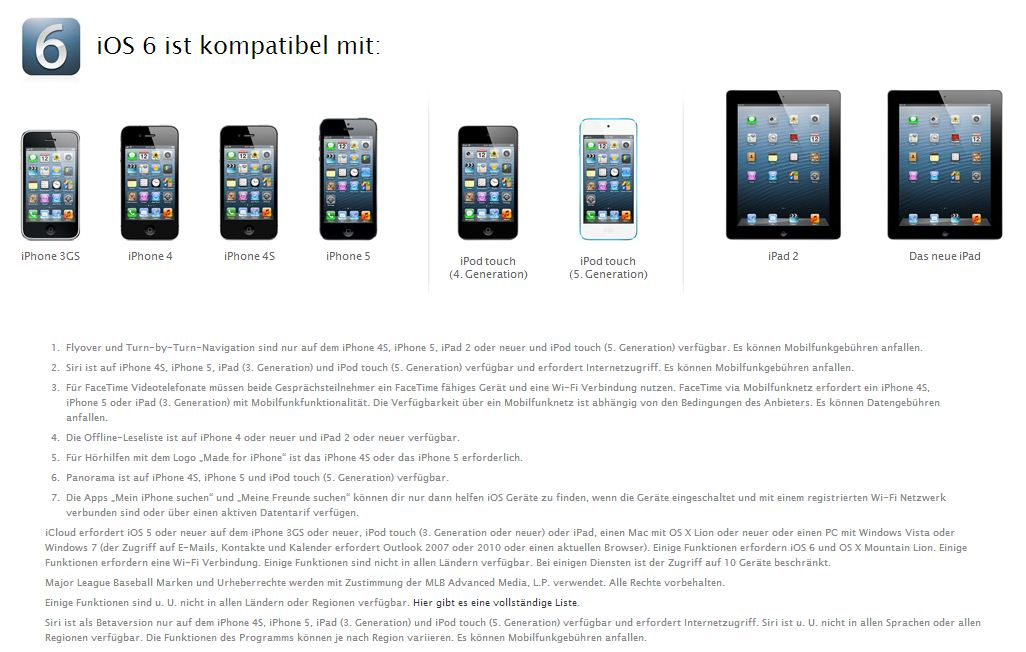 iOS 6 - Welche Geräte bekommen welche neuen Funktionen und Features