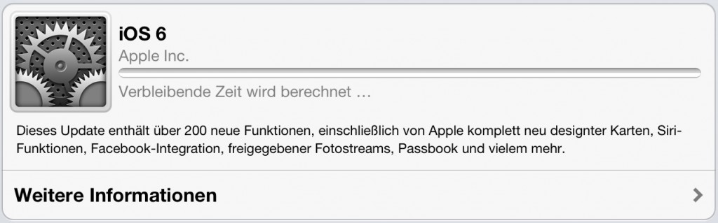 iOS 6 für iPhone (ab 3GS), iPad (2,3) und iPod touch (4+5 Generation)