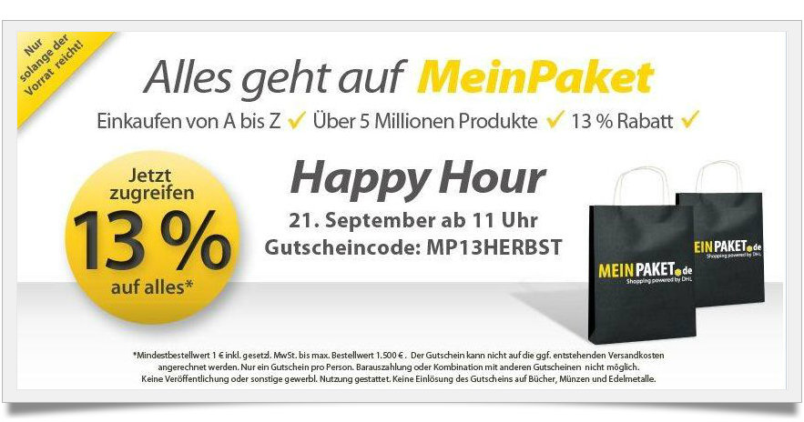 Begrenzter Gutschein von MeinPaket September 2012