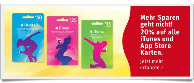 20% Rabatt auf iTunes-Guthaben