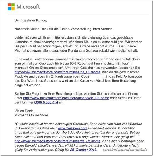 Microsoft Surface -Tablet - Lieferschwierigkeiten