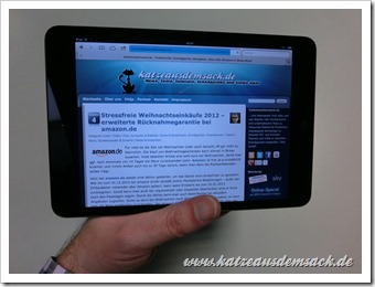 iPad mini - katzeausdemsack.de im Browser