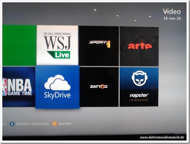 Xbox 360 - Xbox Live - Neue Apps - SkyDrive, Zattoo, Sport1 und mehr