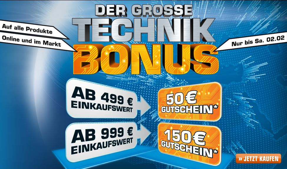 Technik Bonus Aktion Saturn - Gutscheine bis 150 Euro
