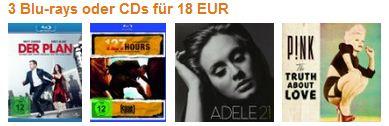 3 Blurays oder CDs für 18 Euro