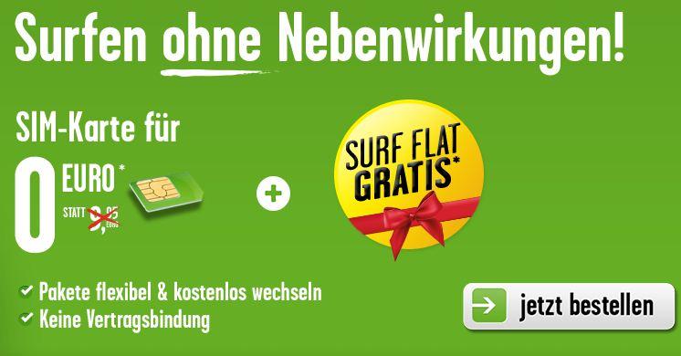 Für 5 € einen Monat kostenlos surfen inkl. SIM, MicroSim oder NanoSim
