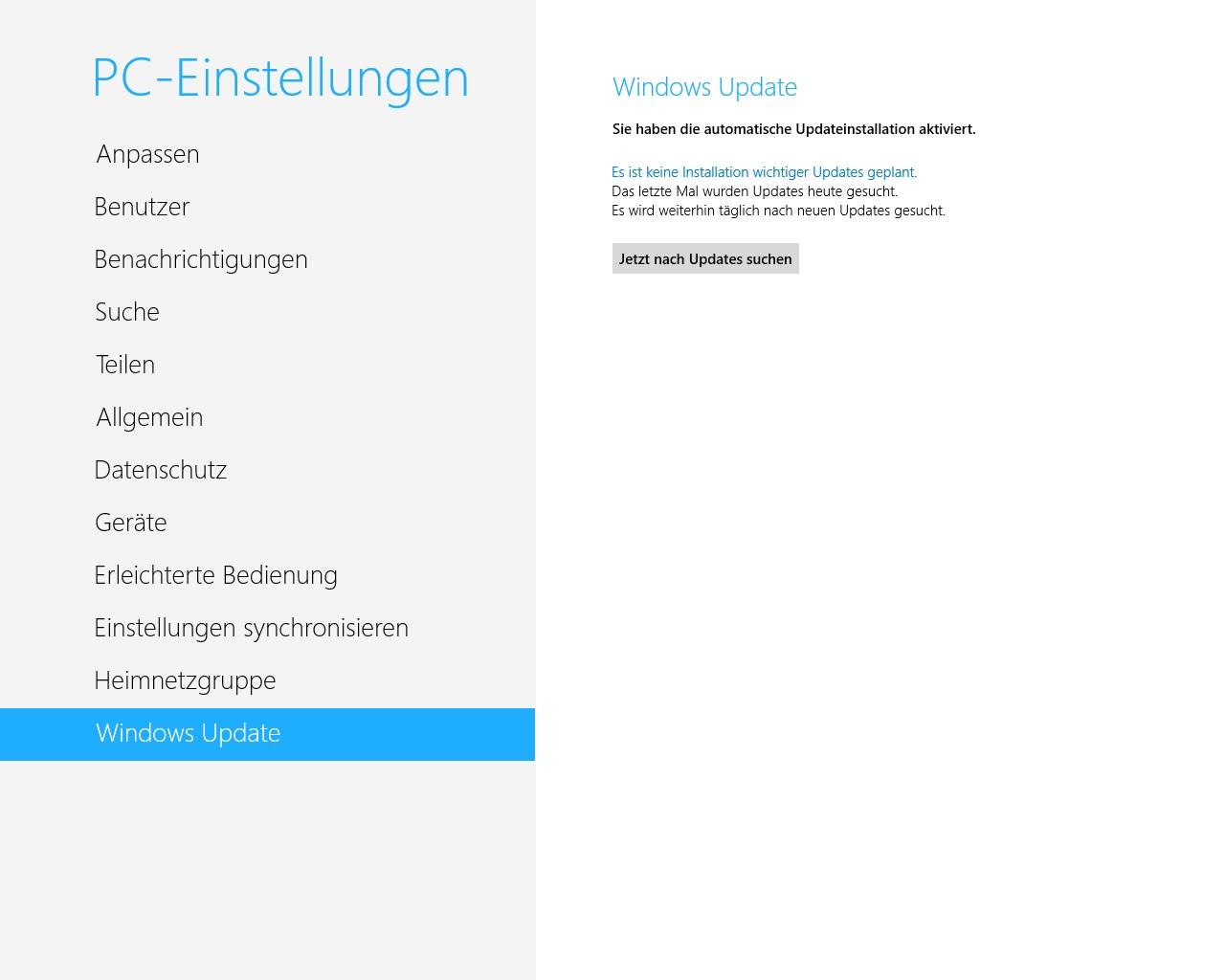 Erst Windows 8 aktualisieren - dann wird das Update auf 8.1 angezeigt