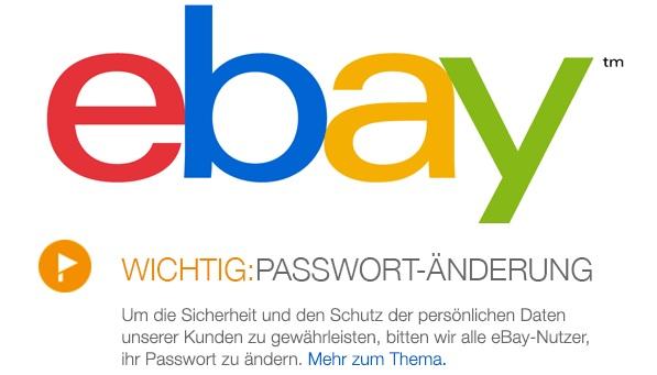 eBay Passwort ändern - Cyberattacke / Hackerzugriff auf Datenbank mit Kundeninformationen