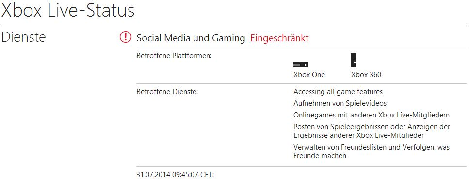 Xbox Live funktioniert nicht - Probleme - Juli 2014 - Xbox 360 - Xbox One