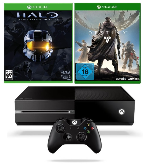 amazon xbox one ohne kinect mit destiny und halo the. Black Bedroom Furniture Sets. Home Design Ideas