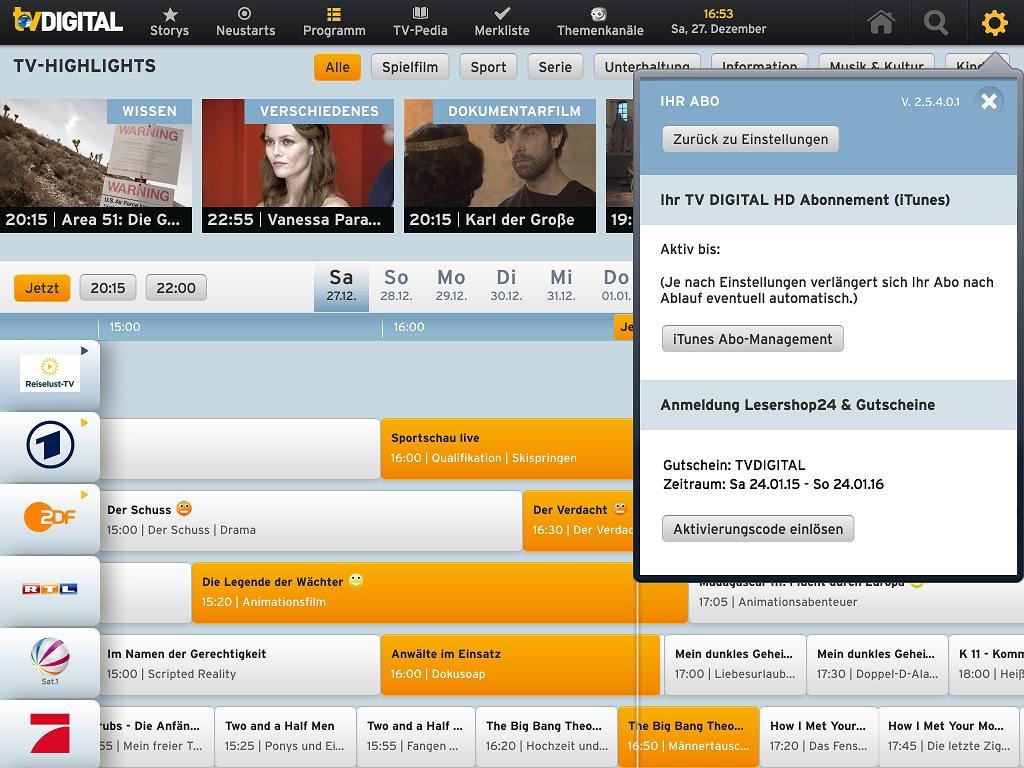 Ipad tv digital hd 18 monate kostenlos mit gutscheinen for Digitale weihnachtskarten kostenlos